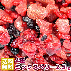 【送料無料】徳用ミックスベリー4種 クランベリー イチゴ ブルーベリー カシス 2.5kg(常温商品) 業務用 ドライフルーツ