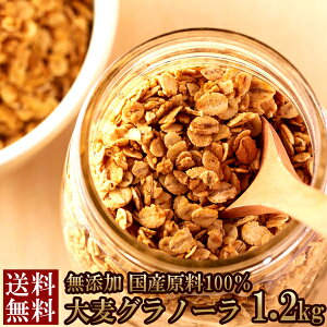 【送料無料】大麦グラノーラ1.2kg 無添加 国産原料100%使用 (常温商品) 無添加 シリアル食品 子供 安心 業務用