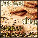 【送料無料】20雑穀入り豆乳おからクッキー4kg (常温商品) ダイエット ヘルシー ビスケット 業務用