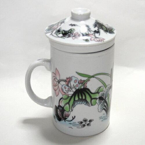 茶漉し付きマグカップ「吉祥蓮花」