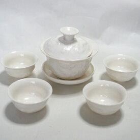 蓋碗・茶杯(浮彫龍)・茶器セット