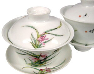 景徳鎮製 高級手書き蓋碗 蘭花