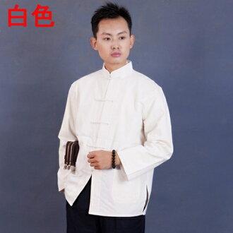 中國,功夫的長袖襯衫功夫襯衫棉 100%白色