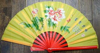 Peony pattern, kung fu folding fan (Isao folding fan), yellow (bone = bamboo, red) 33cm size