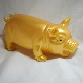 鳴く縁起・豚 金の豚 BOO 大サイズ 亥年(豚年)の幸運を!(送料+税込み)