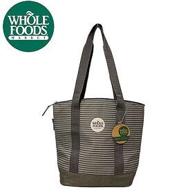 NEW ホールフーズマーケット Whole Foods 保温 保冷 ジップ付き エコバッグ トートバッグ クーラーバッグ グレー 中容量 メール便不可