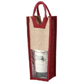 ワインバック 麻ワインバッグ窓付1本用ワインレッド 幅145 奥行105 高さ340 10入/業務用/新品 /テンポス