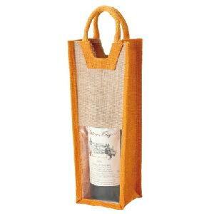ワインバック 麻ワインバック窓付1本用オレンジ 幅145 奥行105 高さ340 10入/業務用/新品 /テンポス