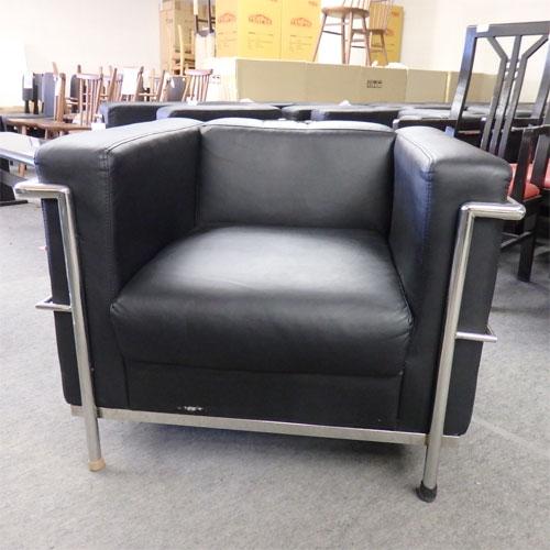 【中古】コの字型黒ソファー椅子 幅830×奥行755×高さ640 【送料別途見積】【業務用】