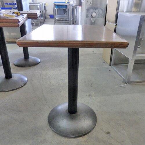 【中古】洋風テーブル茶 黒丸脚 幅500×奥行600×高さ700 【送料別途見積】【業務用】