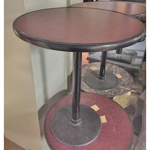 【中古】丸テーブル スチール脚 メラミン天板 幅600×奥行600×高さ710 【送料別途見積】【業務用】