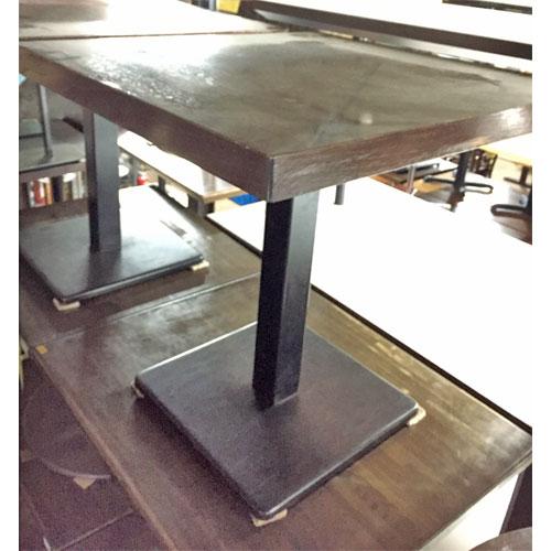 【中古】テーブル スチール脚 茶メラミン天板 幅700×奥行750×高さ720 【送料別途見積】【業務用】