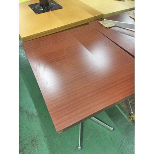 【中古】赤茶メラミン洋風テーブル 幅600×奥行750×高さ720 【送料無料】【業務用】