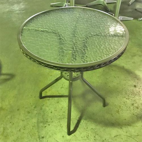 【中古】ガラス風テーブル丸 幅595×奥行595×高さ715 【送料別途見積】【業務用】