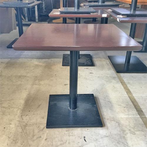 【中古】テーブル 天板茶脚黒 幅650×奥行600×高さ630 【送料別途見積】【業務用】