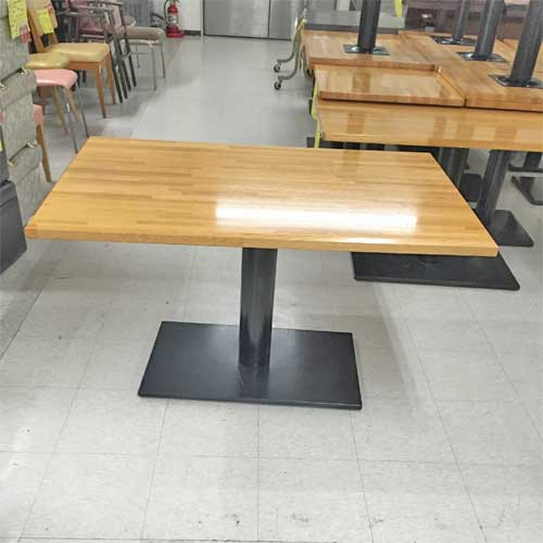 【中古】ナチュラル天板テーブル角ベース 幅1200×奥行750×高さ690 【送料別途見積】【業務用】
