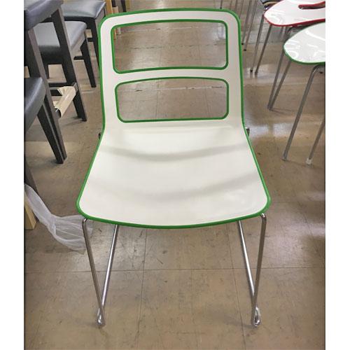 【中古】イス デュエット緑 アダル 幅450×奥行440×高さ800 【送料無料】【業務用】