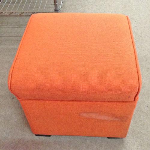 【中古】スツール 座面オレンジ 脚黒 幅400×奥行400×高さ350 【送料無料】【業務用】
