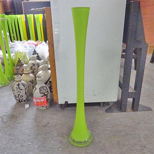 【中古】首長ガラス花瓶 緑 幅120×奥行120×高さ600 【送料別途見積】【業務用】