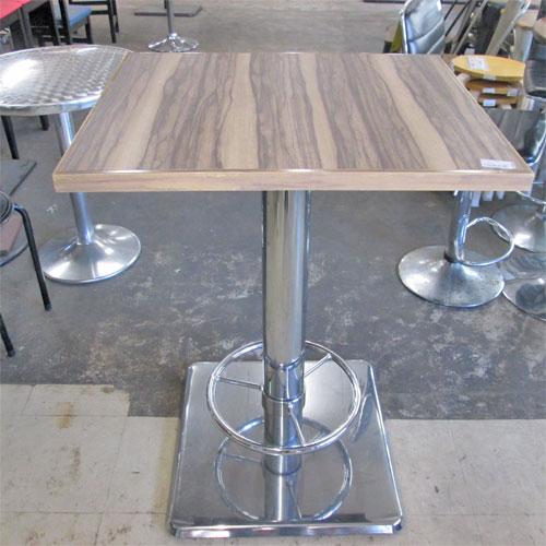 【中古】ハイテーブル 薄茶マーブル 幅700×奥行700×高さ950 【送料無料】【業務用】