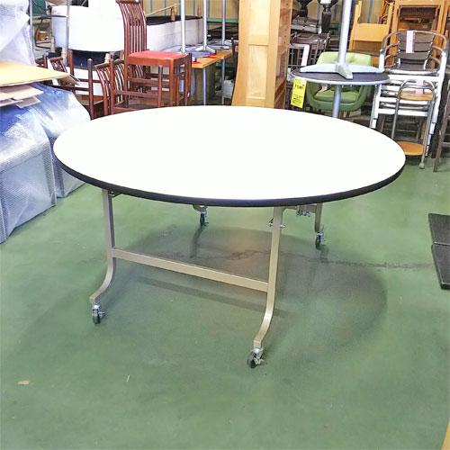 【中古】折り畳み丸テーブル 幅1500×奥行1500×高さ700 【送料別途見積】【業務用】