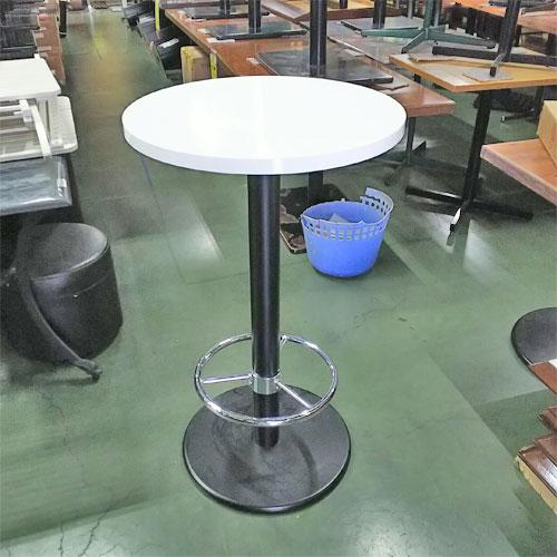 【中古】ハイテーブル 白 幅600×奥行600×高さ1000 【送料別途見積】【業務用】