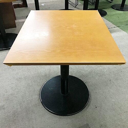 【中古】洋風テーブル ライトブラウン 幅600×奥行750×高さ700 【送料別途見積】【業務用】