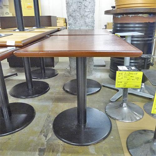 【中古】洋風テーブル 茶天板 黒丸脚 幅600×奥行750×高さ700 【送料別途見積】【業務用】
