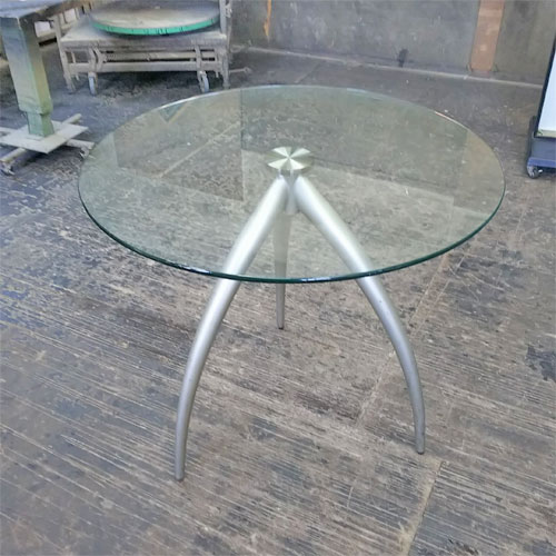 【中古】ガラステーブル 幅800×奥行800×高さ720 【送料別途見積】【業務用】