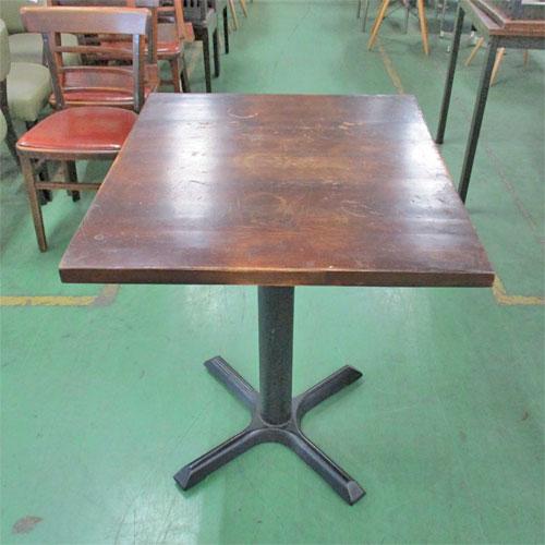 【中古】テーブルブラウン 十字レッグ(太) 幅600×奥行690×高さ720 【送料別途見積】【業務用】