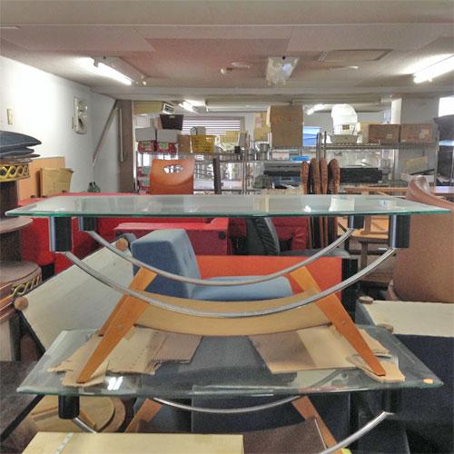 【中古】ガラス楕円テーブル 大 幅1220×奥行670×高さ500 【送料別途見積】【業務用】