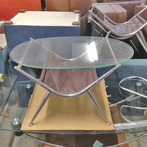 【中古】ガラス楕円テーブル 小 幅800×奥行500×高さ420 【送料別途見積】【業務用】