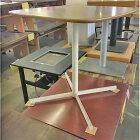 【中古】木目テーブル 白十字レッグ 幅750×奥行750×高さ745 【送料無料】【業務用】