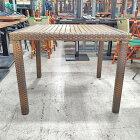 【中古】ガーデン籐編みテーブル 幅900×奥行900×高さ720 【送料無料】【業務用】