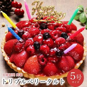 【あす楽 12時まで】誕生日ケーキ 送料無料 バースデーケーキ 誕生日プレゼント 大人 子供 翌日 配送 苺 フルーツ たっぷり 冷凍 解凍8時間【トリプル ベリー タルト 5号 4-6人前】