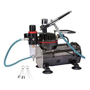 エアーブラシ ミニ コンプレッサー セット ダブルアクション エアブラシ 重力フィード オイルレス エアーコンプレッサー、エア