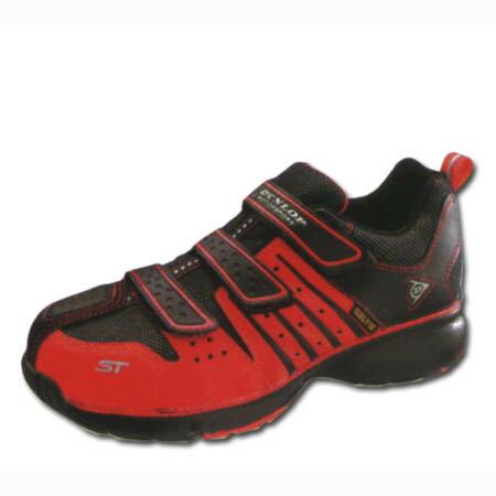 安全靴 ダンロップ スニーカー マジックテープ 軽量 セーフティスニーカー 幅広 ゆったり 鋼鉄先芯 DUNLOP チェンジパット付 マグナム ST302 赤 24.0〜30cm