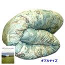 【送料無料】増量高級羊毛混掛け布団羊毛布団ダブルロングニュージーランドウール羊毛日本製グリーンペイズリー190x210cm