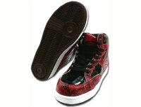 安全靴ハイカット安全スニーカーMEGAXメガックスMG-5600喜多鉄製先芯セーフティスニーカー抗菌防臭24.5〜28.0cmレッド赤黒
