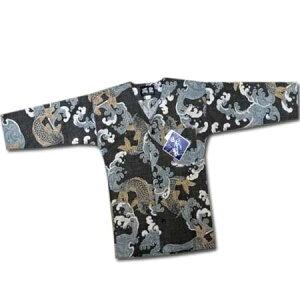 祭り 衣装 ダボシャツ 送料無料 日本製 鯉口シャツ 鳳皇 子供 キッズ 和調柄 鯉 コイ 魚 緑 カーキーグリーン 130cm