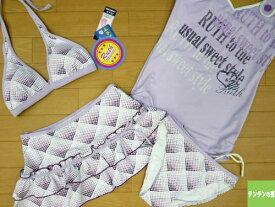 【メール便送料無料】 水着 レディース ビキニ タンキニ 11L(5592)■RUTH(ラッシュ) ホルターネックビキニ4点 女性水着 スカート付 ハートドット グラデ 紫 11号