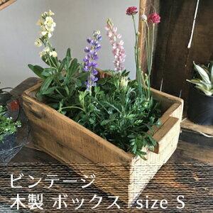ベジタブルボックス (S) / ヴィンテージ調 木製ボックス 飾り棚 ナチュラル カントリー ベランダ ガーデン(DIX-10)