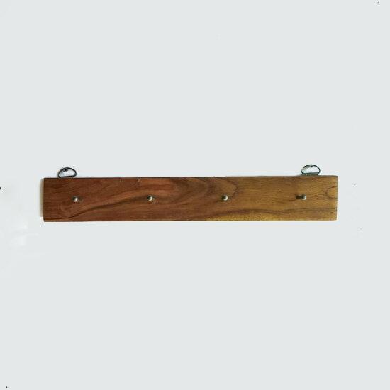フックボード 釘タイプ / アイアンネイル 4フック / チーク無垢材 壁掛け ウォールハンガー キーフック 帽子掛け 壁付け W400mm(OIR-020)
