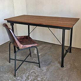 チーク アイアン テーブル / W1350 ダイニング ワーキングデスク 4人掛け 男前家具 シック シンプル 天然木(IFN-89)