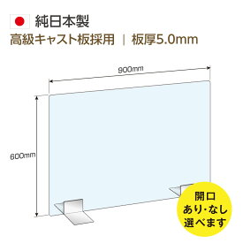 【窓の有無選べます!】[日本製] 高透明アクリルパーテーション W900mm×H600mm ステンレス足付き 飛沫防止 飛沫遮断 対面式スクリーン デスク用仕切り板 コロナウイルス 対策、衝立 角丸加工 組立式【受注生産、返品交換不可】skap5-9060