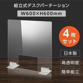 [日本製] [4枚セット]ウイルス対策 透明 アクリルパーテーション W600mm×H600mm 窓付き パーテーション アクリル板 仕切り板 衝立 飲食店 オフィス 学校 病院 薬局 [受注生産、返品交換不可] dptx-6060-m30-4set
