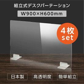 [日本製] [4枚セット]ウイルス対策 透明 アクリルパーテーション W900mm×H600mm パーテーション アクリル板 仕切り板 衝立 飲食店 オフィス 学校 病院 薬局 [受注生産、返品交換不可] dptx-9060-4set