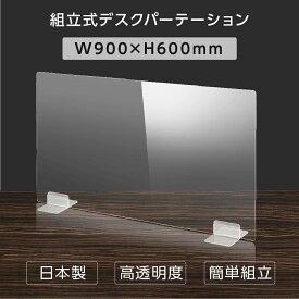 [日本製] ウイルス対策 透明 アクリルパーテーション W900mm×H600mm パーテーション アクリル板 仕切り板 衝立 飲食店 オフィス 学校 病院 薬局 [受注生産、返品交換不可] dptx-9060