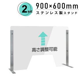 [2セット] 仕様改良 日本製 高透明アクリルパーテーション W900×H600mm 厚さ3mm 荷物渡し窓付き ステンレス足固定 高さ調節式 組立簡単 安定性アップ デスク用スクリーン 間仕切り板 衝立 npc-s9060-m4320-2set