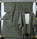 村山大島紬 アンサンブル 階段縞 正絹 着物 紬   【送料無料 中古】【紬 紬の着物 リサイクル着物 リサイクル紬 正絹 はぎれ つ…